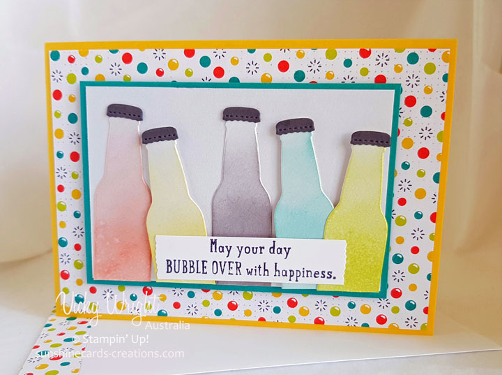 2018 SAB, 2018 Occasions Catalogue, Bubble Over Bundle, Bottles & Fizz DP, #SDBH #vickywright #stampinup #sunshinecards-creations