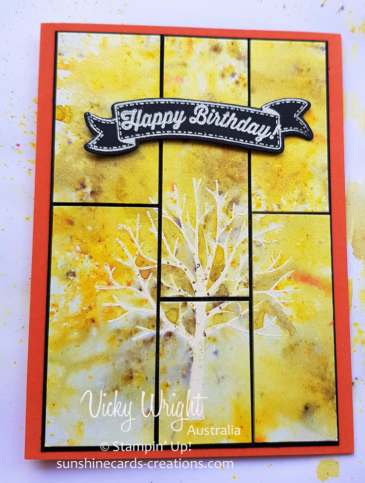 2018 Occasions Catalogue, Brushos, Sheltering Tree, Birthday Banners, Emboss Resist with Brushos, Free Tutorial, Stampin' Up!