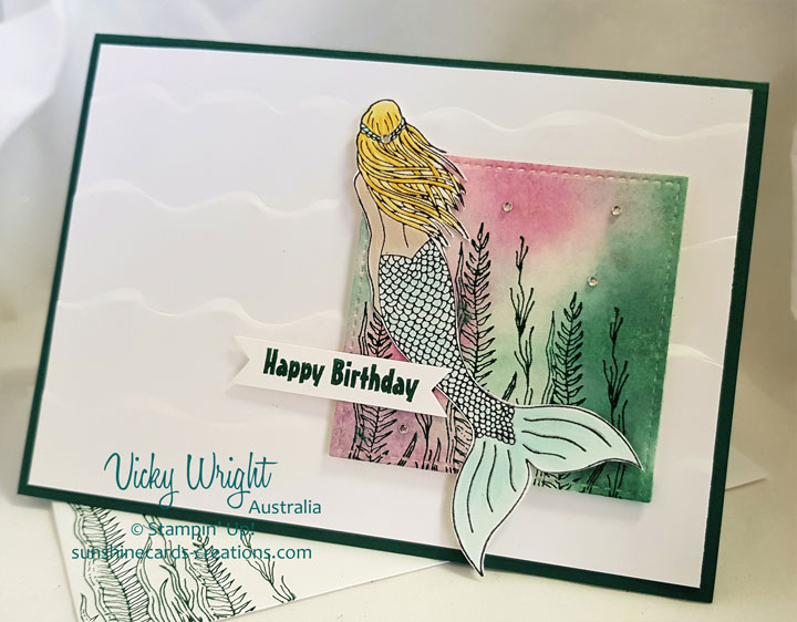 Birthdays, Magical Mermaid, Party Pandas, Sploshing Background Technique, Free Tutorial, Stampin' Up!