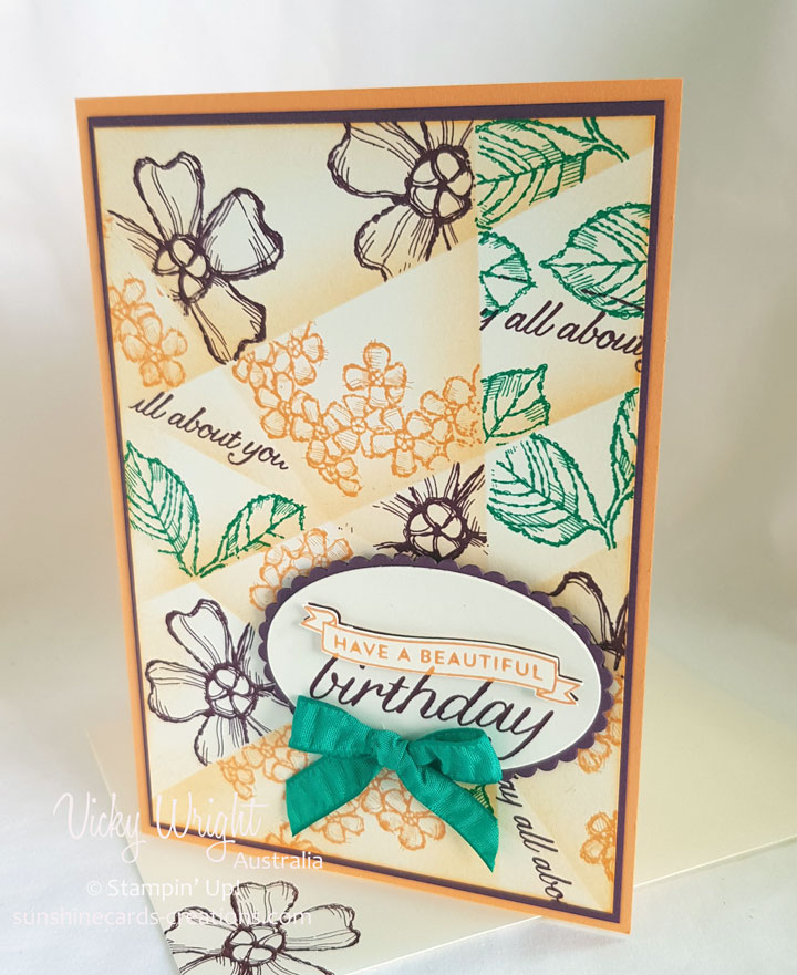 Birthday Blossoms, 2016-2018 In Colours, Retiform Techniques, Free Tutorial, Stampin' Up!, #birthdayblossoms #birthdays #makeacardsendacard #stampinup #vickywright