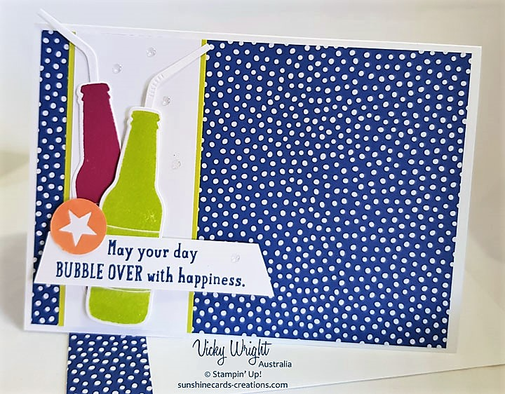 Bubble Over, Bottles & Bubbles Framlits, 2018-2020 DSP, Free Tutorial, Stampin' Up!, #bubbleover, #SDBH #vickywright #stampinup #makeacardsendacard #RAK