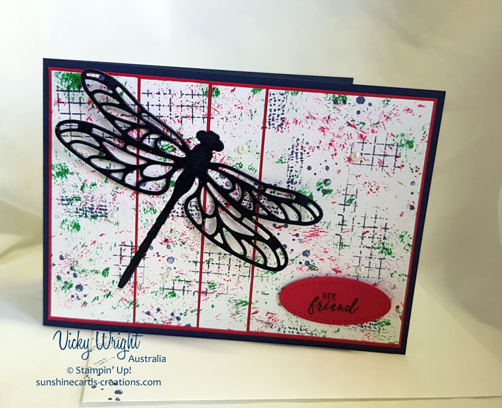 Itty BItty Greetings, Detailed Dragonfly Thinlits, Baby Wipe Technique, Free Tutorial, Stampin' Up! #detaileddragonfly #babywipetechnique #ittbittygreetings #makeacardsendacard #vickywriht #stampinup