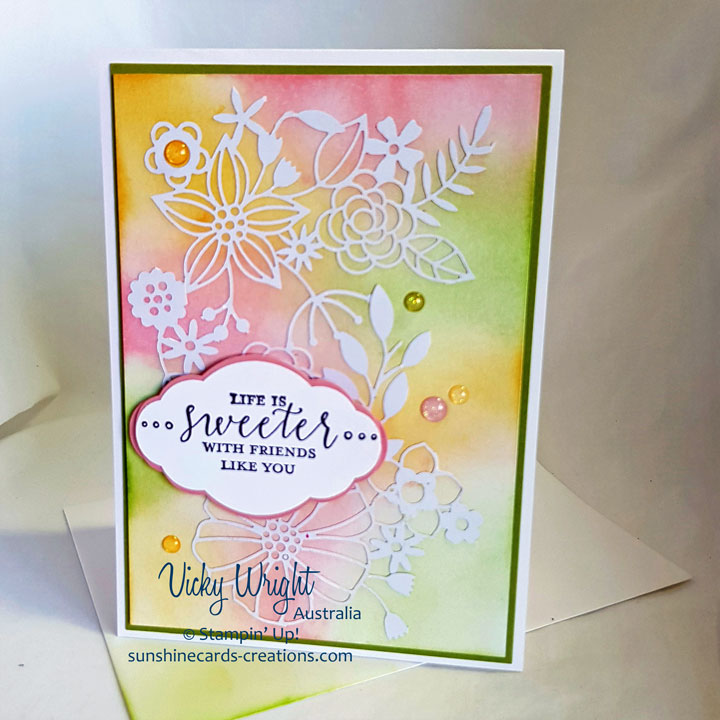 Detailed with Love, Delightfully Detailed Laser-Cut Paper, ponging, Free Tutorial, Stampin' Up! #detailedwithlove #sponging #vickywright #stampinup