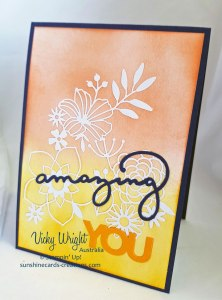 Celebrate You Thinlits, Delightfully Detailed Laser-Cut Specialty Paper, Stampin' Up! #celebrateyou #sponging #delightfullydetailedlasercutpaper #teammembers #vickywright #makeacardsendacard #loveitchopit #stampinup