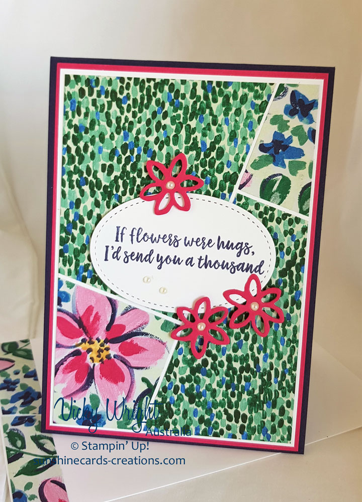 Abstract Impressions, Garden Impressions DSP, Springtime Impressions Thinlits, Free Tutorial, Stampin' Up! #abstractimpressions #gardenimpressionsdsp #springtimeimpresisonsthinlits #makeacardsendacard #loveitchopit #freetutorial #vickywriht #stampinup