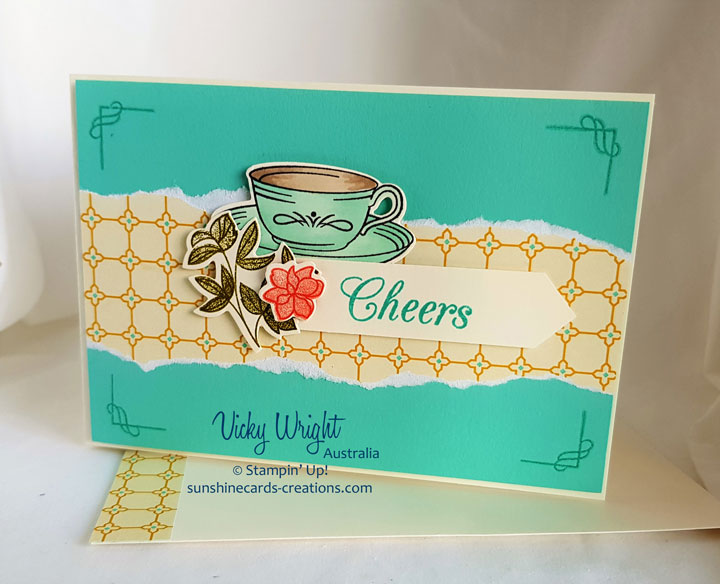 Time for Tea, Spot of Tea Framelits, Tea Room Specialty DSP, Free Tutorial, Stampin' UP! #timefortea #spotofteaframelits #tearoomspeciltydsp #makeacardsendacard #loveitchopit #vickywright #freetutorial #stampinup