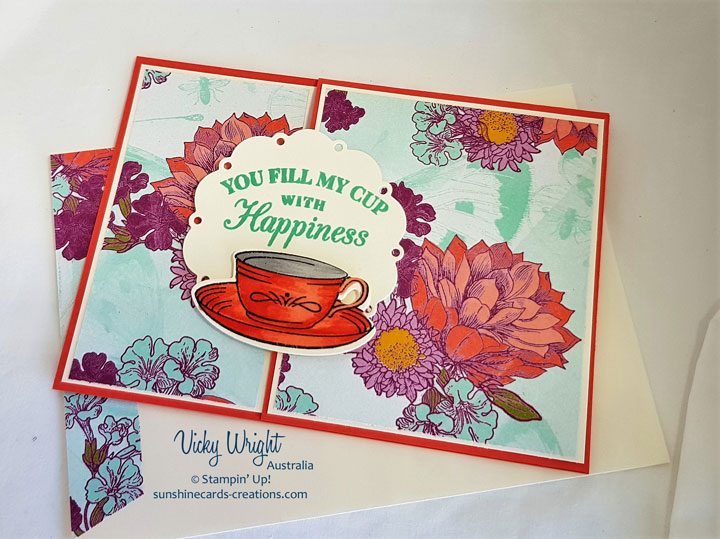 Time for Tea, Tea Room Specialty DSP, Spot of Tea Framelits, Free Tutorial, Vicky Wright,, Stampin' Up! #timefortea #tearoomspecialtydsp #loveitchopit #makeacardsendacard #vickywright #freetutorial #stampinup