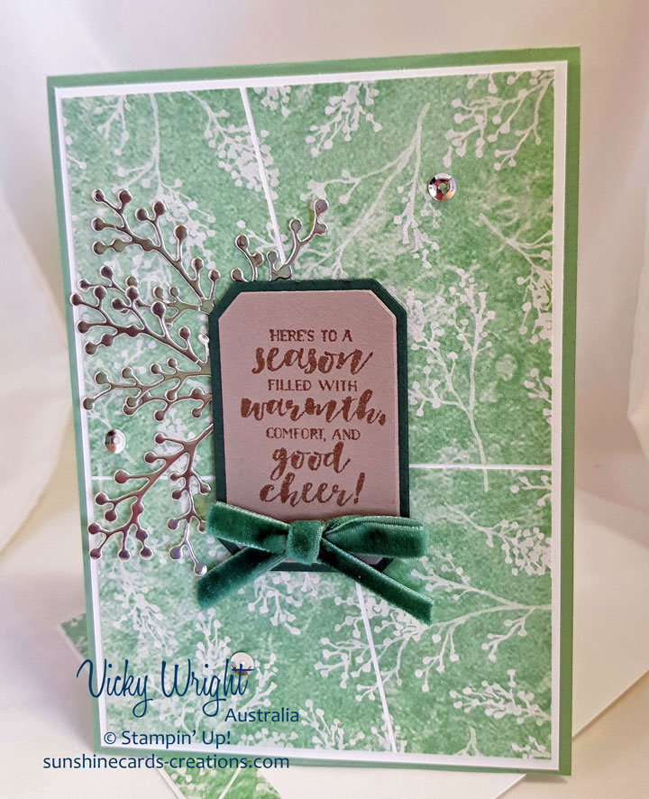 2018 Holiday Catalogue, First Frost Bundle, Frosted Floral DSP, Free Tutorial, Stampin' Up! #firstfrostbundle #frostedfloraldsp #freetutorial #vickywright #stampinup #loveitchopit
