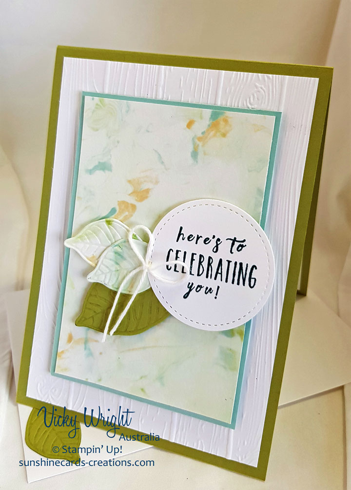 Rooted in Nature, Shaving Cream Technique, Nature's Roots Framelits, Free Tutorial, Stampin' Up! #rootedinnaturebundle #shavingcreamtechnique #vickywright #stampinup